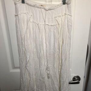 White Boho Midi Skirt